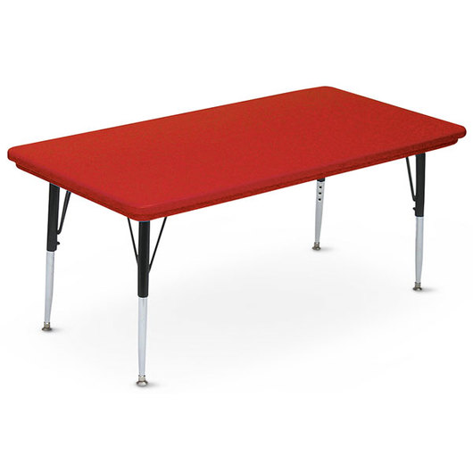 Blow-Molded Activity Table - 30 in. x 72 in. Rectangle 16 in.-25 in. Leg Height - Red