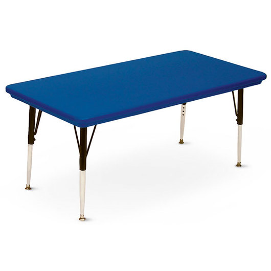 Blow-Molded Activity Table - 30 in. x 72 in. Rectangle 21 in.-30 in. Leg Height - Blue