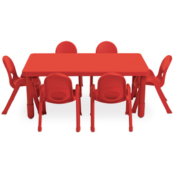 My Value Preschool Rectangular Table with Six 11 in. Value Stack™ Chairs - Blue