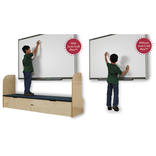 Jonti-Craft® iRise® Deluxe Interactive Whiteboard Step - 25-1/2 in. H x 73-1/2 in. W x 21 in. D, 9 in. Step Height