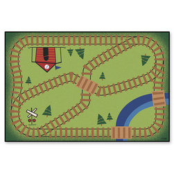 Kids Value Rugs™ - 3 ft. x 4 ft. 6 in. - Railroad Playtime Rug