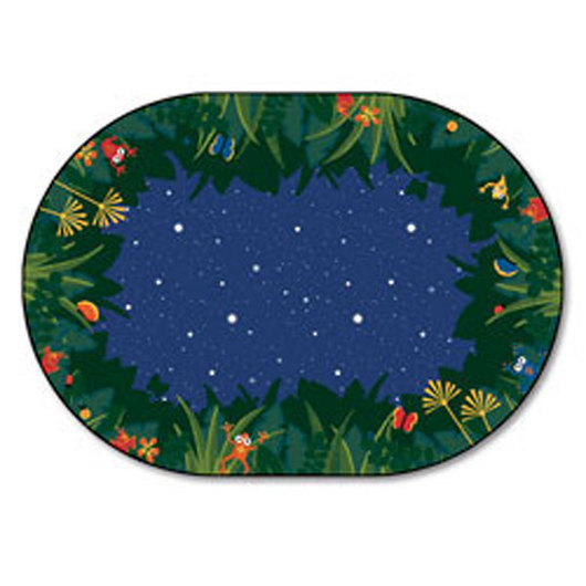 Peaceful Tropical Night Carpet - Oval - 3 ft. 10 in. x 5 ft. 5 in.