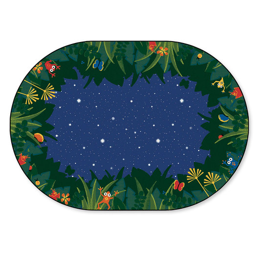 Peaceful Tropical Night Carpet - Oval - 6 ft. x 9 ft.