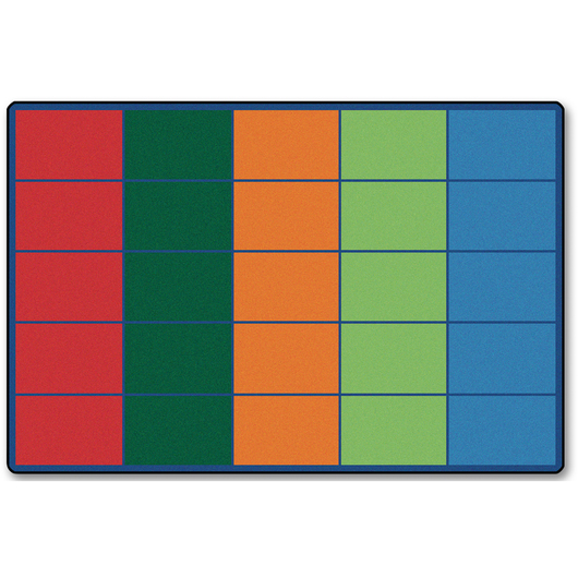 Colorful Rows Seating Rug for 25 Students - 6 ft. x 9 ft.