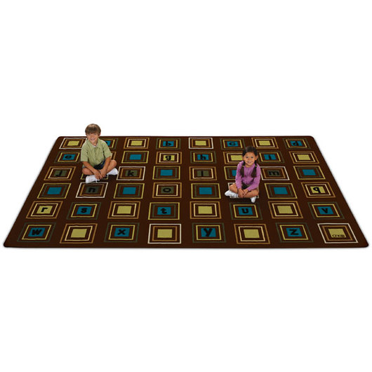 Squares Seating Rug - Natural Colors - 6 ft. x 9 ft.