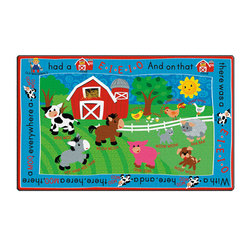 Flagship Carpets® Rectangle E-I-E-I-O Toddler Carpet