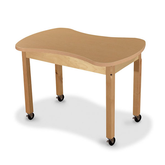 Wood Designs® Synergy High Pressure Laminate Table - 24 in. x 36 in. with 22 in. Hardwood Legs and 4 Locking Casters