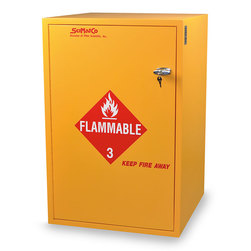 SciMatCo Safety Flammables Floor Cabinet with One Shelf - 30 x 1 Gallon Capacity - Self-Closing Door