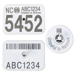 Y-TEX® SwineStar® Max™ Official Premises Tags - Numbered USDA PIN Tags - 1-1/2 in. x 2-1/8 in. - Set of 25 - White