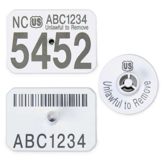 Y-TEX® SwineStar® Max™ Official Premises Tags - Numbered USDA PIN Tags - 1-1/2 x 2-1/8 - Set of 25 - White