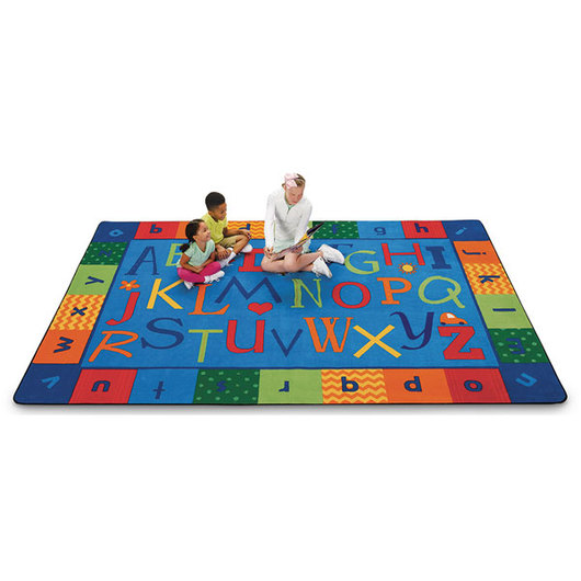 KIDSoft™ Premium Collection Alphabet Around Literacy Rug - Rectangle - 6 ft. x 9 ft.