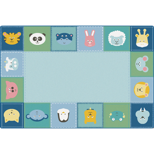 KIDSoft™ Premium Collection Baby Animals Border Rug - Rectangle - 4 ft. x 6 ft.