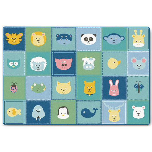 KIDSoft™ Premium Collection - Animal Patchwork Rug - Soft - Rectangle - 6 ft. x 9 ft.