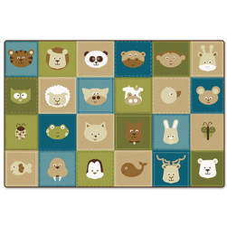 KIDSoft™ Premium Collection - Animal Patchwork Rug - Natural - Rectangle