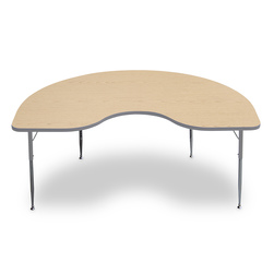 Allied F6 Series Multipurpose Table - 48 in. x 72 in. Kidney - Fusion Maple Tabletop - 20-1/2 in.-29-1/2 in. Leg Height - Platinum Leg/Edge