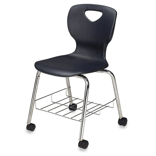 Allied Choice™ Series Ergonomic Stack Chair - 18 in. with Chrome Steel Book Rack and 4 Casters - 2 Locking - Black