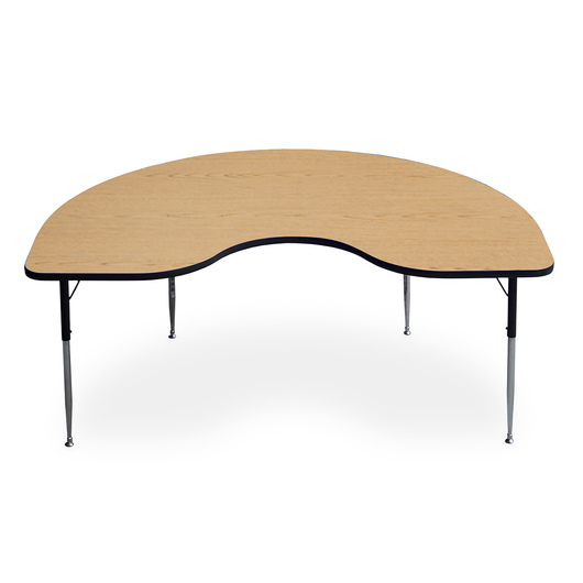 Allied F5 Series Multipurpose Table - 48 in. x 72 in. Kidney - Light Oak - 15 in.-24-1/2 in. Leg Height