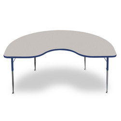 Allied F6 Series Multipurpose Table - 48 in. x 72 in. Kidney - Gray Nebula Tabletop - 20-1/2 in.-29-1/2 in. Leg Height - Blue Leg/Edge