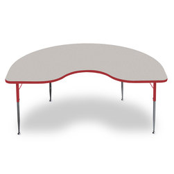 Allied F6 Series Multipurpose Table - 48 in. x 72 in. Kidney - Gray Nebula Tabletop - 20-1/2 in.-29-1/2 in. Leg Height - Red Leg/Edge