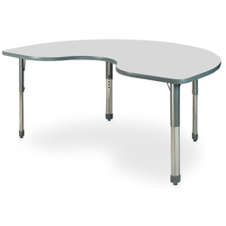 Allied M7 Series Pastel Dry-Erase Activity Table - 48 in. x 72 in. Kidney - Ice Gray - 26 in.-35 in. Leg Height