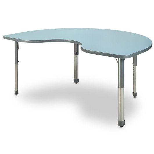 Allied M7 Series Pastel Dry-Erase Activity Table - 48 in. x 72 in. Kidney - Sky Blue - 26 in.-35 in. Leg Height
