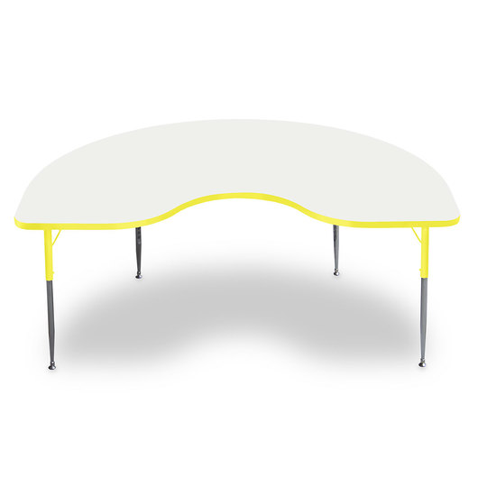 Allied M6 Series Colorful Dry-Erase Table - 48 in. x 72 in. Kidney - Yellow Legs/Edges - 15 in.-24-1/2 in. Leg Height