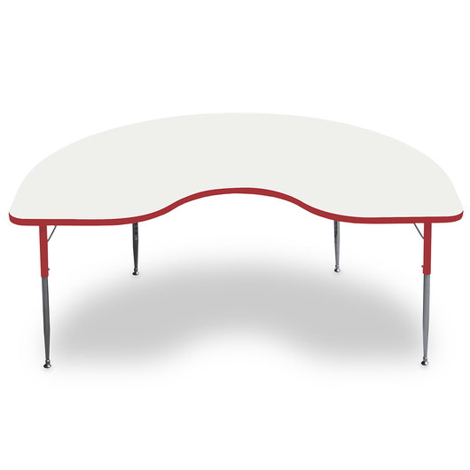Allied M6 Series Colorful Dry-Erase Table - 48 in. x 72 in. Kidney - Red Legs/Edges - 15 in.-24-1/2 in. Leg Height