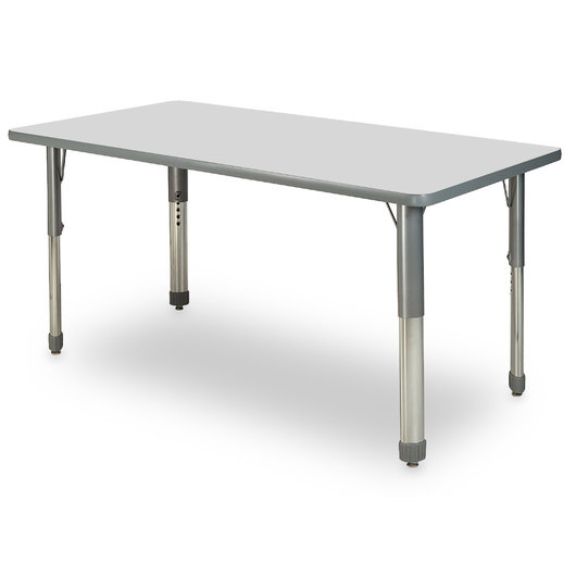 Allied M7 Series Pastel Dry-Erase Activity Table - 30 in. x 60 in. Rectangle - Ice Gray - 17 in.-25 in. Leg Height