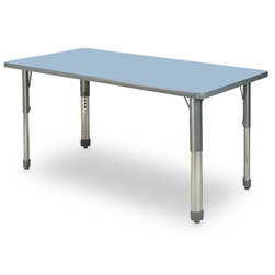 Allied M7 Series Pastel Dry-Erase Activity Table - 24 in. x 48 in. Rectangle - Sky Blue - 17 in.-25 in. Leg Height