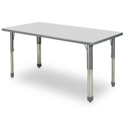 Allied M7 Series Pastel Dry-Erase Activity Table - 30 in. x 60 in. Rectangle - Ice Gray - 26 in.-35 in. Leg Height