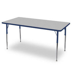 Allied F6 Series Multipurpose Table - 30 in. x 72 in. Rectangle - Gray Nebula Tabletop - 20-1/2 in.-29-1/2 in. Leg Height - Blue Leg/Edge