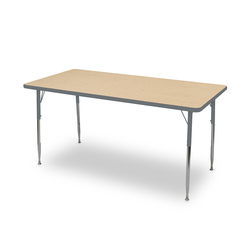 Allied F6 Series Multipurpose Table - 30 in. x 72 in. Rectangle - Fusion Maple Tabletop - 20-1/2 in.-29-1/2 in. Leg Height - Platinum Leg/Edge