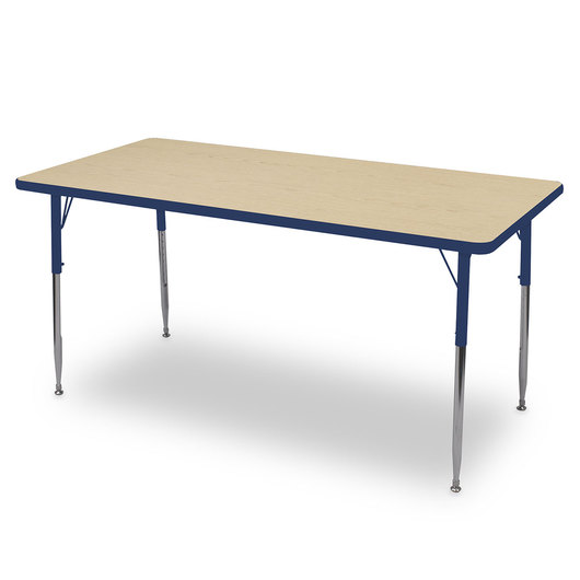 Allied F6 Series Multipurpose Table - 30 in. x 72 in. Rectangle - Fusion Maple Tabletop - 15 in.-24-1/2 in. Leg Height - Blue Leg/Edge