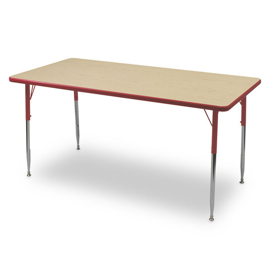 Allied F6 Series Multipurpose Table - 30 in. x 72 in. Rectangle - Fusion Maple Tabletop - 15 in.-24-1/2 in. Leg Height - Red Leg/Edge