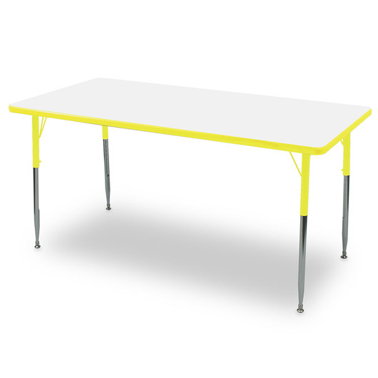 Allied M6 Series Colorful Dry-Erase Table - 30 in. x 60 in. Rectangle - Yellow Legs/Edges - 20-1/2 in.-29-1/2 in. Leg Height
