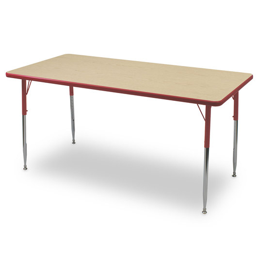 Allied F6 Series Multipurpose Table - 30 in. x 48 in. Rectangle - Fusion Maple Tabletop - 15 in.-24-1/2 in. Leg Height - Red Leg/Edge