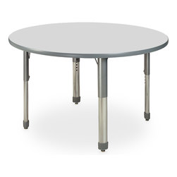 Allied M7 Series Pastel Dry-Erase Activity Table - 48 in. dia. Round - Ice Gray - 17 in.-25 in. Leg Height