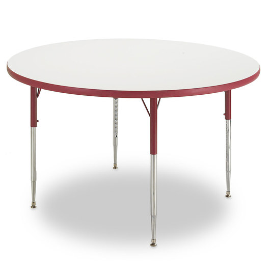 Allied M6 Series Colorful Dry-Erase Table - 48 in. dia. Round - Red Legs/Edges - 15 in.-24-1/2 in. Leg Height