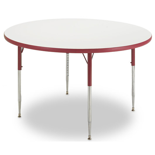 Allied M6 Series Colorful Dry-Erase Table - 48 in. dia. Round - Red Legs/Edges - 20-1/2 in.-29-1/2 in. Leg Height