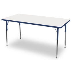 Allied M6 Series Colorful Dry-Erase Table - 24 in. x 48 in. Rectangle - Blue Legs/Edges - 20-1/2 in.-29-1/2 in. Leg Height