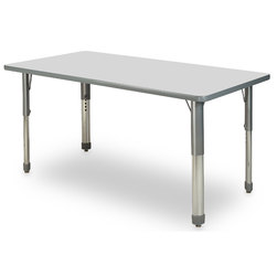 Allied M7 Series Pastel Dry-Erase Activity Table - 24 in. x 48 in. Rectangle - Ice Gray - 26 in.-35 in. Leg Height