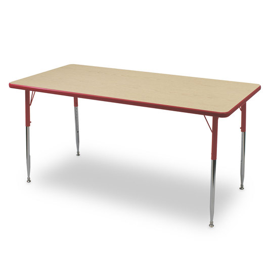 Allied F6 Series Multipurpose Table - 30 in. x 48 in. Rectangle - Fusion Maple Tabletop - 20-1/2 in.-29-1/2 in. Leg Height - Red Leg/Edge
