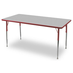 Allied F6 Series Multipurpose Table - 30 in. x 48 in. Rectangle - Gray Nebula Tabletop - 20-1/2 in.-29-1/2 in. Leg Height - Red Leg/Edge