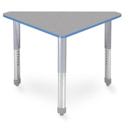 Interchange Wing™ Desk - Gray Nebula Top - Cerulean Blue Edges