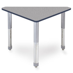 Interchange Wing™ Desk - Gray Nebula Top - Navy Edges