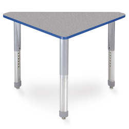 Interchange Wing™ Desk - Gray Nebula Top - Persian Blue Edges