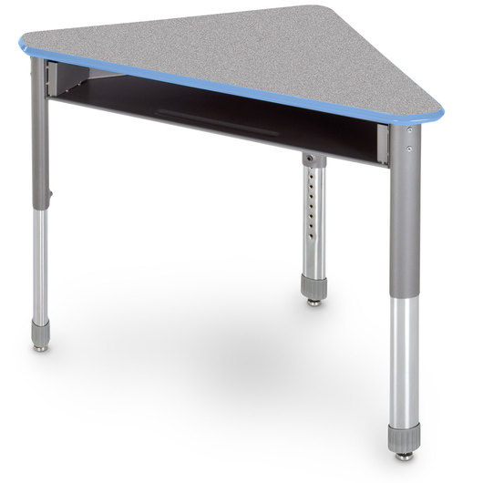 Interchange Wing™ Open-Front Desk - Gray Nebula Top - Cerulean Blue Edges