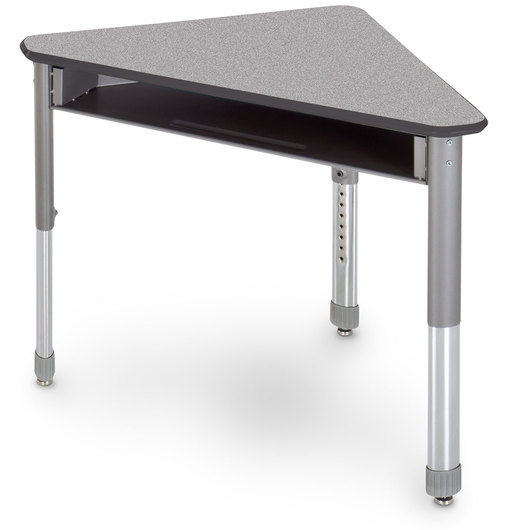 Interchange Wing™ Open-Front Desk - Gray Nebula Top - Charcoal Edges