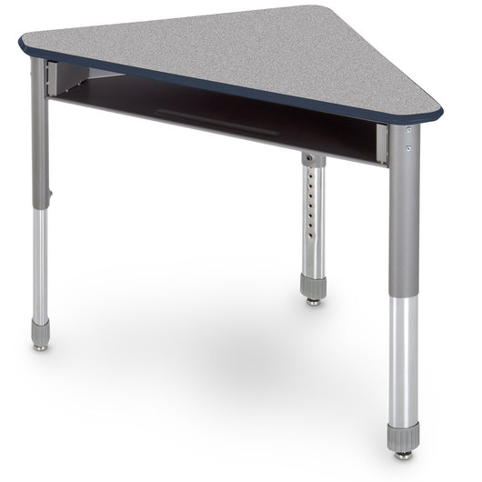 Interchange Wing™ Open-Front Desk - Gray Nebula Top - Navy Edges