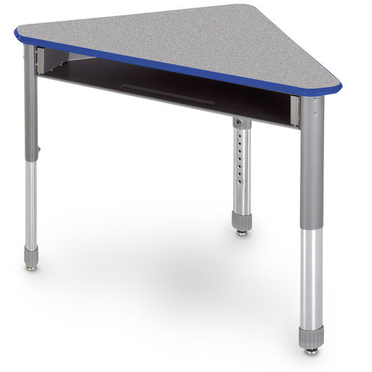 Interchange Wing™ Open-Front Desk - Gray Nebula Top - Persian Blue Edges
